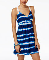 Planet Gold Juniors' Printed Crochet-Trim Racerback Dress