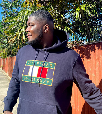 Tommy Hilfiger Big & Tall icon badge logo hoodie in navy