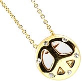 Ami Mini Bejeweled Golden Peace Sign Necklace