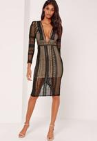 Missguided Lace Plunge Midi Dress Black