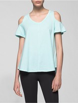 Calvin Klein Performance Distressed Cold Shoulder Top