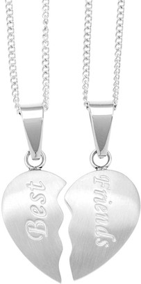 Riddles Group Stainless Steel 2-piece Friends Heart Necklace