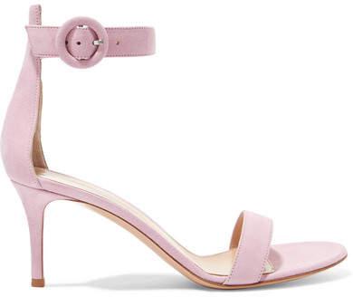 Gianvito Rossi Portofino 70 Suede Sandals - Baby pink