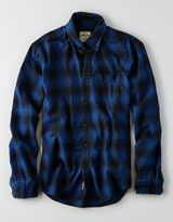 American Eagle AEO Indigo Plaid Button Down Shirt