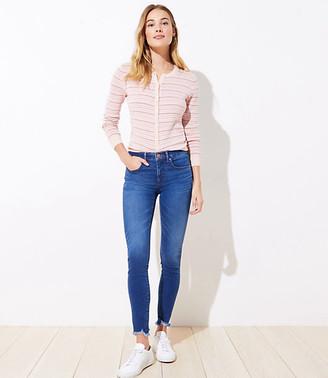 LOFT Curvy Chewed Hem Slim Pocket Skinny Crop Jeans in Mid Indigo Wash
