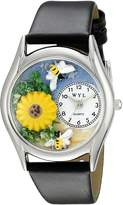 Whimsical Watches Women's S1211002 Sunflower Black Leather Watch