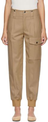 Chloé Beige Wool Straight Cargo Trousers
