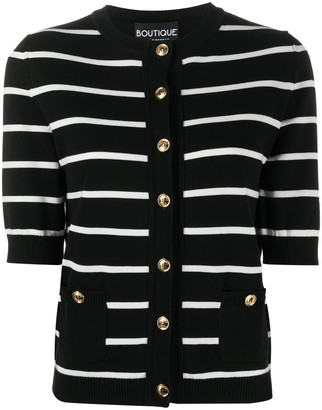 Boutique Moschino Striped Short-Sleeve Cardigan