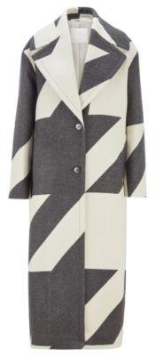 HUGO BOSS Long Oversize Fit Coat In Virgin Wool Houndstooth Jacquard - Patterned