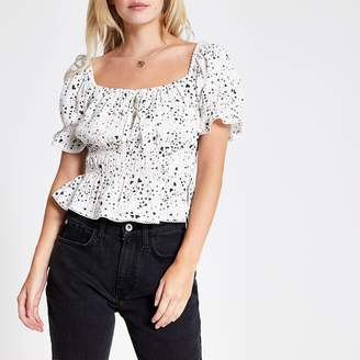 River Island Womens Petite White heart print bow front tea top