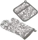 DII 100% Cotton, Machine Washable, Everyday Kitchen Basic, Damask Printed Oven Mitt and Pot Holder Gift Set, Gray