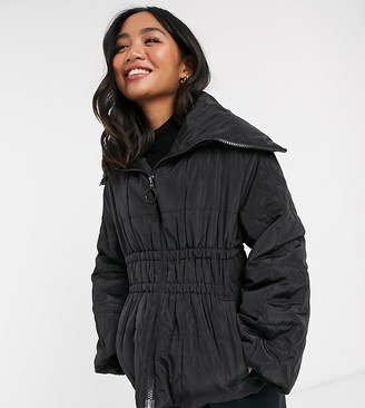 Asos DESIGN petite ruched waist puffer jacket in black