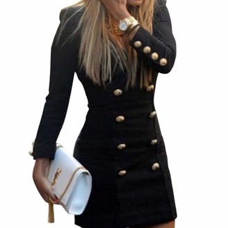 HOOUDO Women Dress Work Office Business Slim Long Sleeve Buttons Casual Bodycon Cocktail Mini Dress(L