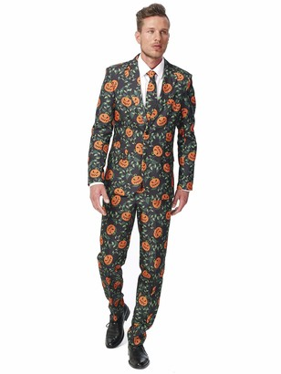Suitmeister Halloween Suit for Men in Stylish & Creepy Prints Full Set: Includes Jacket Pants and Tie