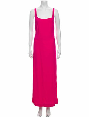 STAUD Square Neckline Long Dress Pink