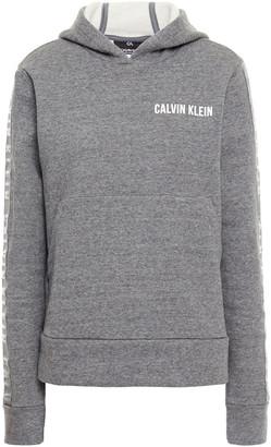 Calvin Klein Printed Melange Cotton-blend Fleece Hoodie