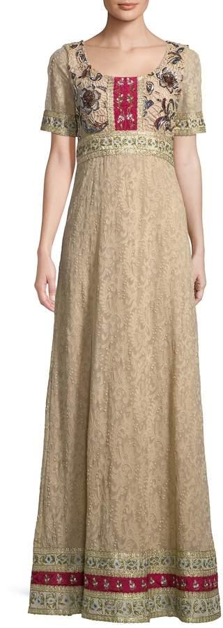 Alice + Olivia Women's Zuzu Embroidered Peasant Maxi Dress