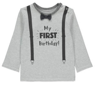 George Grey Striped First Birthday Long Sleeve Top