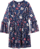 Speechless Navy Floral Bell-Sleeve Dress