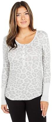Splendid Leopard Thermal Forever Henley (Heather Grey) Women's Clothing