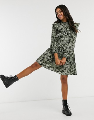 Pieces mini skater dress with ruffle detail in leopard print