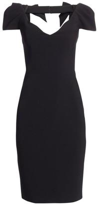 Gustavo Cadile V-Neck Bow Shoulder Cocktail Dress