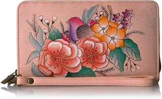 Anuschka Women's Anna Handpainted Leather Ladies Clutch Wristlet Handbag