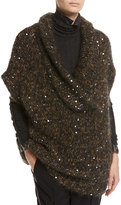 Brunello Cucinelli Paillette-Embellished Cap-Sleeve Tunic Sweater, Brown