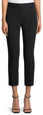Theory Trecca 2 Straight-Leg Cropped Admiral Crepe Pants