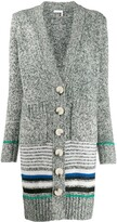 See by Chloe striped long cardi-coat