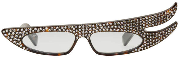 Gucci Tortoiseshell Asymmetric Rhinestone Sunglasses