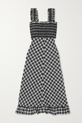 Ganni Smocked Checked Cotton-blend Seersucker Maxi Dress - Black