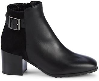 Aquatalia Charlene Leather Suede Square-Toe Booties