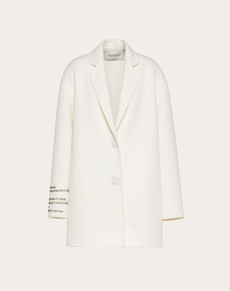 Valentino Compact Drap Coat With Poetry Detailing Women Ivory Virgin Wool 95%, Cashmere 5% 38