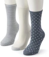 Cuddl Duds Women's 3-Pack Everyday Crew Socks