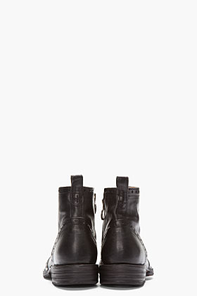 Fiorentini+Baker Black Punched Leather Eternity Boots
