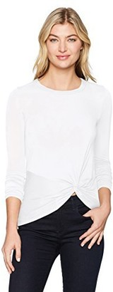 Enza Costa Women's Long Sleeve Side Knot Crew Top