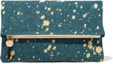 Clare Vivier Fold-over denim clutch