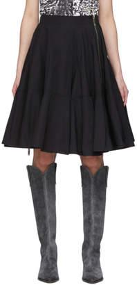 we11done Black Poplin Flare Mid-Length Skirt