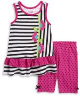 Nannette Little Girls Mixed Patterned Dress and Polka Dot Leggings Set