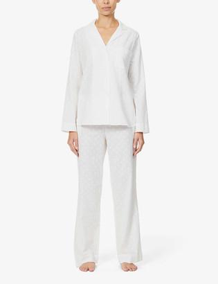 Yolke Polka dot-print cotton-poplin pyjama set