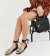 Jamila Asos Design ASOS DESIGN Wide Fit diamante tie leg espadrille sandals