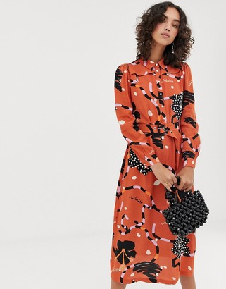 Selected midaxi shirt dress in abstract print