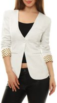 Allegra K Women Long Sleeves One Button Dots Boyfriend Blazer S