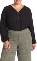 Nanette Lepore Nanette Long Sleeve V-Neck Blouse (Plus Size)