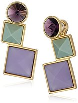 Rebecca Minkoff Large Three Stone Front To Back Earrings