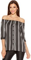 Quiz Black And White Bardot 3/4 Sleeve Button Shirt