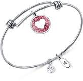 Unwritten Silver-Tone Smile Heart Adjustable Bangle Bracelet