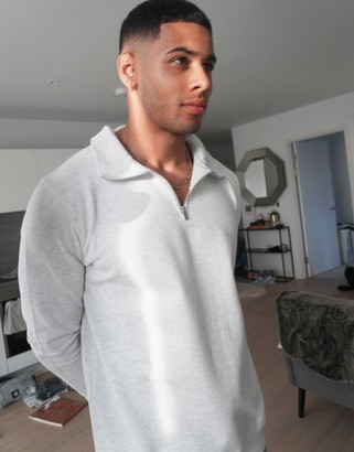 Burton Menswear half zip jumper in grey