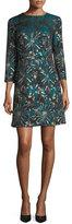 Trina Turk Lulu Glen 3/4 Sleeves Metallic Jacquard Mini Dress